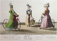 Women's bicycle fashions emerged as early as the first cycling inventions of the 1800s