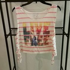 Live free crop top Red and white striped crop top with live free on front.both sides have ties.like new Tops Crop Tops