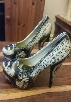 Rare Miss Fiendish Gothic Raven Poe Killer Heels shoes Sz5