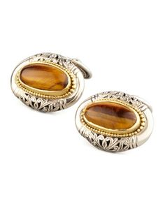 Tiger\'s Eye Oval Cuff Links by Konstantino at Neiman Marcus.