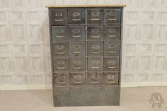 Industrial vintage filing drawers! These would be great in an industrial inspired home interior. #Vintage #Industrial #Interiors #Furniture #FilingDrawers #FilingCabinet