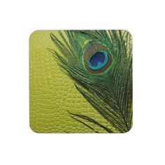 Green Still Life with Peacock Feather Beverage Coasters by Peacocks