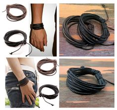 Bracelet en cuir homme ou femme marron