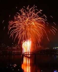 The fireworks go off with Cincinnati in the background during Riverfest in 2009 as seen from the 17th floor at the Southshore condominiums.