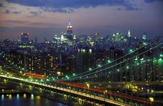 Manhattan Bridge and Skyline at Night