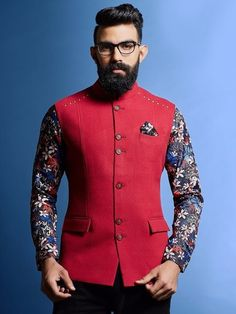 Red Terry Solid Rayon Nehru Jacket with Floral Printed Shirt