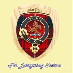 Clan MacFie Tartan Woodcarver Wooden Wall Plaque MacFie Crest 7 x 8