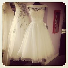Fun tea-length gown by Sincerity Bridal This would be good to change into for the dance part of the reception