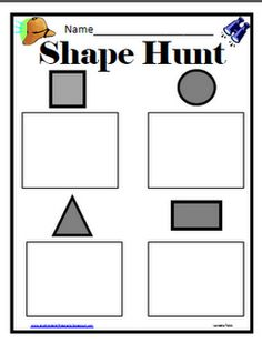 Shape Hunt... find the objects around the room and write them in the box OR find laminated shapes hidden around the room
