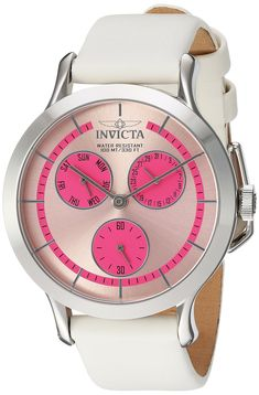 Invicta Women's 'Angel' Quartz Stainless Steel and Leather Casual Watch, Color:White (Model: 22494)