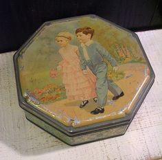 Little Wedding - Darling Vintage 1930s Tin Box with Little Boy and Little Girl Cote d'Or Chocolates Belgium