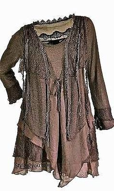 Pretty+Angel+Clothing+Layered+Vintage+Blouse+in+Brown+*10536CF