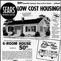 AV - Sears can't sue for using their copyrighted stuff! > Use while topical A Happy Ending for a Sears House Old Advertisements, Retro Advertising, Retro Ads, Vintage Ads, Vintage Signs, Vintage Photos, Vintage Menu, Vintage Stuff, Vintage House Plans
