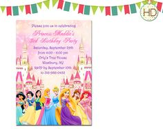 Disney Princess Invitation Disney Castle Birthday by HDInvitations, $12.00