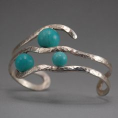 wolfgang vaatz jewelry   Amazonite and Sterling Silver Cuff by Wolfgang Vaatz of Earth Terra ...