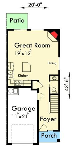 Duplex with Matching 20'-Wide Units - 38016LB | 2nd Floor Master Suite, CAD Available, Narrow Lot, PDF | Architectural Designs