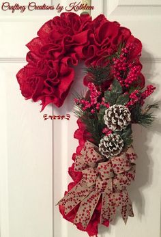 """Candy Cane Lane"" - Red Burlap Candy Cane with pine, berries and frosted pine cones and a delightful coordinating glitter burlap bow Christmas Mesh Wreaths, Christmas Swags, Burlap Christmas, Handmade Christmas, Winter Wreaths, Wreath Crafts, Diy Wreath, Christmas Crafts, Christmas Ornaments"