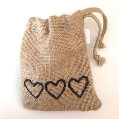 3 Hearts Hessian Favour Bag