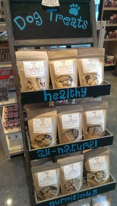 Good display prop for displaying packaged goods. The space used at the top and fronts of shelves is great for signage too.