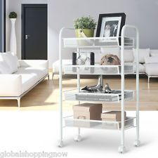 4Tier Metal Mesh Rolling Cart Trolley Storage For Kitchen Office Bedroom  Laundry