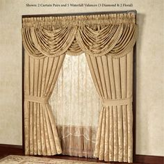 Corsica Diamond Waterfall Valance Gold 42 x 33 Gold Bedding Sets, Gold Comforter, Comforter Sets, Modern Window Treatments, Valance Window Treatments, Window Coverings, Window Blinds, Apartment Therapy, Waterfall Valance