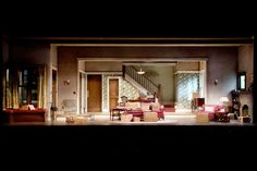 "Chicago Bungalow set in the play ""Clybourne Park. Stage Set Design, Set Design Theatre, Teaching Theatre, Cinematic Photography, Spanish Revival, Scenic Design, Lighting Design, Design Elements, Mansions"