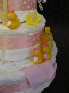 Pink Rubber Duck Girl Diaper Cake