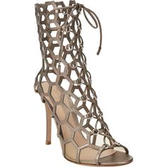 Gianvito Rossi Geometric Cutout Lace-Up Sandal (2,530 BAM) ❤ liked on Polyvore featuring shoes, sandals, heels, open toe flat sandals, lace up sandals, flat shoes, metallic shoes and cut out sandals