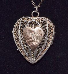 "Vintage 10K YG & Sterling Silver Filigree Heart Locket w/ 18 7/16"" Chain, 10.1 g #Locket"