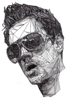 Jhonny Knoxville - Retratos super detalhados feitos à mão usando somente triângulos