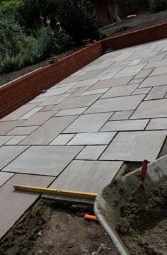 Paving Slab Ideas Cheap Garden Paving Small Patios With . Marshalls Argent Smooth Patio Paving In Leigh Manchester. Home and Family Casa Patio, Backyard Patio, Backyard Landscaping, Concrete Patio Designs, Concrete Slab, Sandstone Paving Slabs, Back Garden Design, Patio Slabs, Garden Paving
