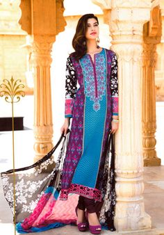 Perfect Combination Of Maroon, Black And Blue With Colourful Embroidery. #pakistani #suits #collection #maria   Buy at : http://www.alicolors.com