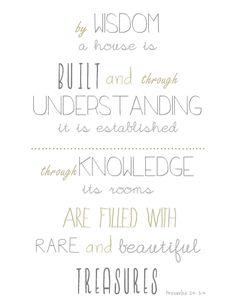 Bible Verse Printable Proverbs 24:3-4