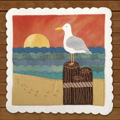 """PATTERN - """"Seaside Sunset"""" Pattern of the Month wool applique' quilt block or table mat. Wool Applique Quilts, Wool Applique Patterns, Wool Quilts, Felt Applique, Barn Quilts, Quilt Patterns, Applique Ideas, Flower Applique, Quilting Projects"""