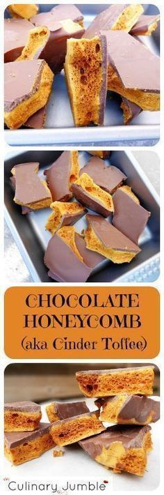 Delicious crunchy, stick to your teeth chocolate honeycomb candy perfect for any time of year. It's super quick to prepare and tastes divine!(Baking Treats For Christmas) Köstliche Desserts, Delicious Desserts, Dessert Recipes, Yummy Food, Candy Recipes, Sweet Recipes, Baking Recipes, Honeycomb Candy, Chocolate Art