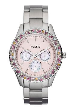 Fossil 'Stella' Crystal Bezel Multifunction Watch