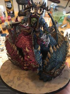 WIP - Pink / Blue schemed Gordrakk, Fist of Gork on his Maw Krusha! CC Welcome and appreciated!