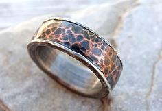 forged silver copper ring mens wedding band hammered copper