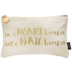 Nails Inc Heart Breaker Slogan Cosmetic Bag (26 AUD) ❤ liked on Polyvore featuring beauty products, beauty accessories, bags & cases, bags, beauty, other, dop kit, glitter makeup bag, travel kit and toiletry kits
