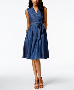 Tommy Hilfiger Faux-Wrap Denim Shirtdress - Tommy Hilfiger - Women - Macy's
