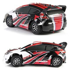 Wltoys Scale High Speed Electric Rally Car Stunt road RC Car Transmitter - Red