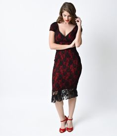 Order this red and black lace dress or other wiggle dresses from Unique  Vintage and get e254a9329