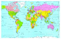 From 2.35 Laminated World Map (small Size 15x22.5 Inches) Atlas School Type Poster Wall Chart | Educational Teaching Poster