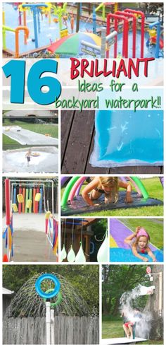 16 Brilliant Ideas to Create Your Own DIY Backyard Waterpark - Modern Design Backyard Splash Pad, Backyard Water Parks, Backyard For Kids, Diy For Kids, Backyard Ideas, Backyard Playground, Backyard Games, Splash Party, Water Party