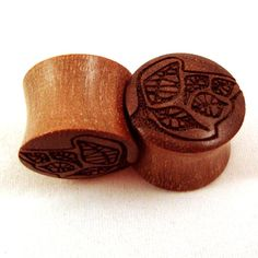 Tree Design Walnut Wooden Plugs 7/16 11mm 1/2 13mm by EarEmporium, $30.00