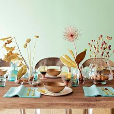 A bit of metallic spray paint can transform a few natural items into truly distinctive centerpiece elements: http://www.bhg.com/thanksgiving/indoor-decorating/easy-centerpieces-for-thanksgiving/#=?socsrc=bhgpin100314metalliccenterpiece&page=8