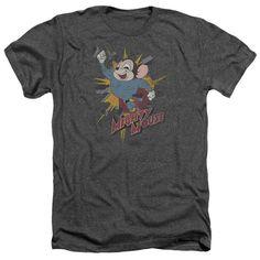 MIGHTY MOUSE/BREAK THROUGH - ADULT HEATHER - CHARCOAL - 2X   BREAK THROUGH | Cartoon T-Shirts | Mopixiestore.com