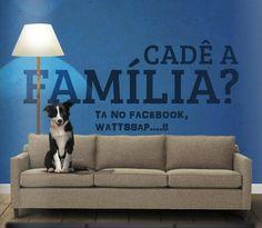 Foto de um sofá marrom claro de três lugares, sentado na primeira almofada à esquerda, um cão da raça border collie, sozinho. Próximo à parede azul atrás do sofá, uma luminária alta com cúpula branca, ilumina as letras enormes pretas e lê-se: Cadê a Família? E abaixo, em letras menores: Ta no Facebook, Wattssap....!!