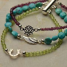 FREE Design Idea. Click http://www.ninadesigns.com/jewelry_design_ideas/multi_strand_gemstone_bracelet.html for supplies.