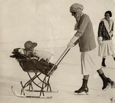 Pram on skis (sledge) on the ice, pushed by mom on skates, St. Moritz, Switzerland, 1926 / via semioticapocalypse Antique Photos, Vintage Pictures, Vintage Photographs, Old Pictures, Vintage Images, Old Photos, Ski Vintage, Vintage Pram, Photo Vintage